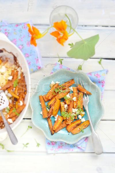 baked carrot with feta cheese Stock photo © zoryanchik
