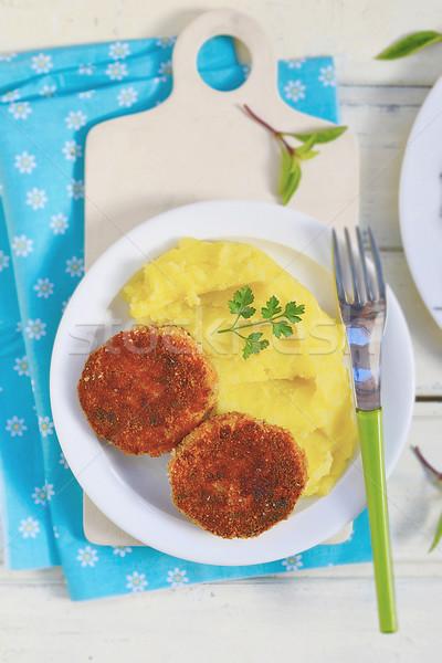 fish cutlets with mashed potatoes.  Stock photo © zoryanchik