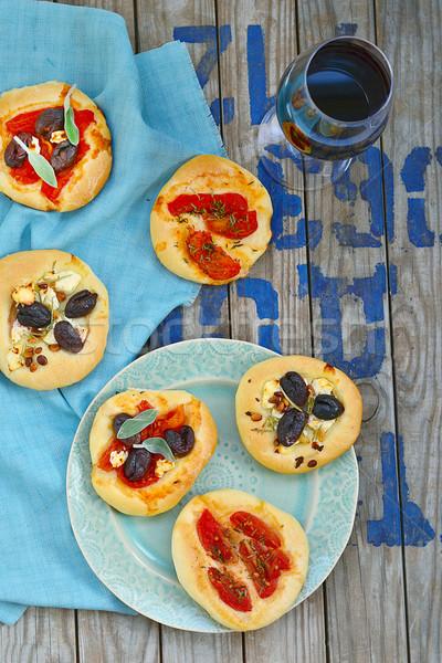 Todo mini cocina italiana atención selectiva pizza restaurante Foto stock © zoryanchik