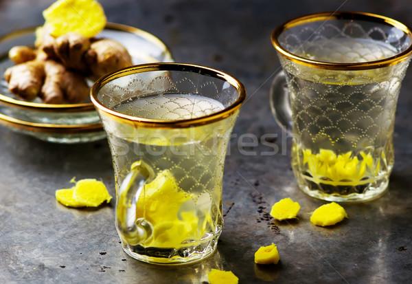 имбирь чай стекла металл стиль Сток-фото © zoryanchik