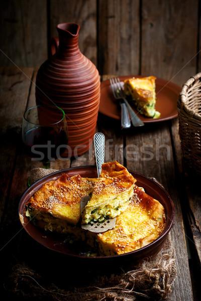 Cheese cake achma traditional Georgian pie.style rustic Stock photo © zoryanchik