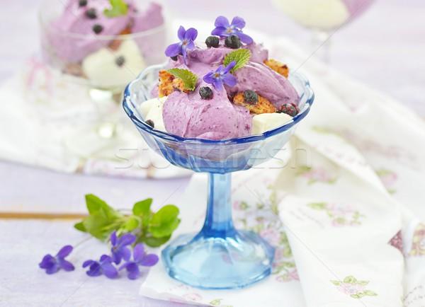 черника творог десерта фрукты стекла синий Сток-фото © zoryanchik