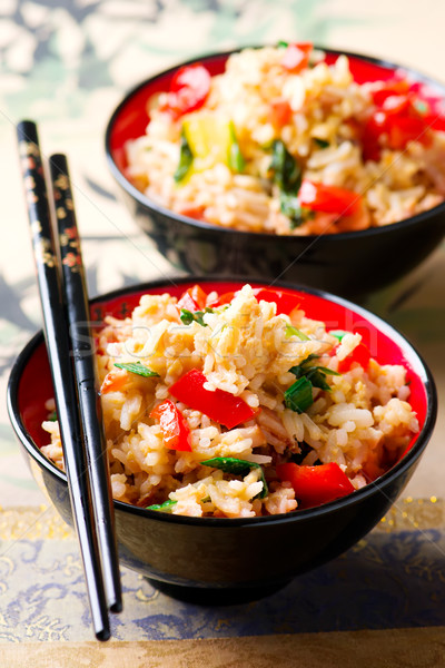 Fried rice with vegetables ,egg and bacon Stock photo © zoryanchik