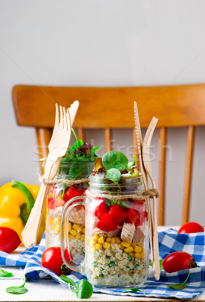 ranch chicken salad in a jar mason jar meals. Stock photo © zoryanchik