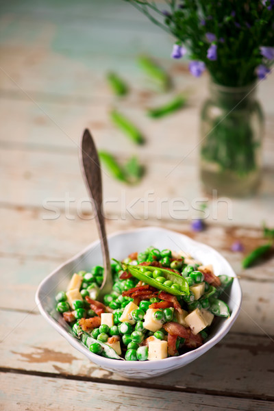 Creamy Green Pea Salad with Bacon.selective focus Stock photo © zoryanchik