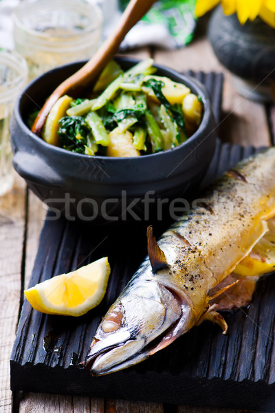 mackerel - a grill with braised vegetables  Stock photo © zoryanchik