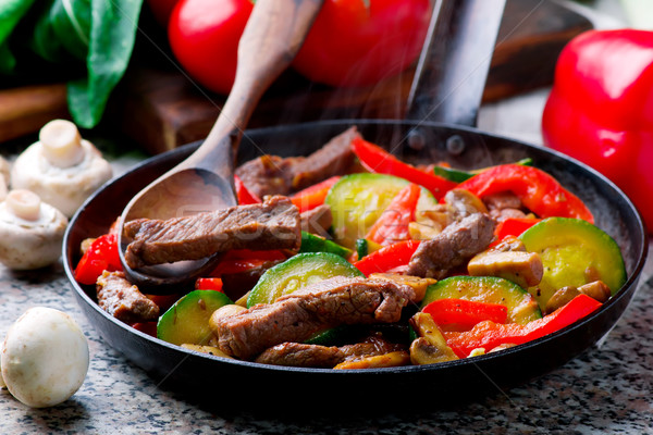 Mediterranean Beef Stir-Fry. Stock photo © zoryanchik