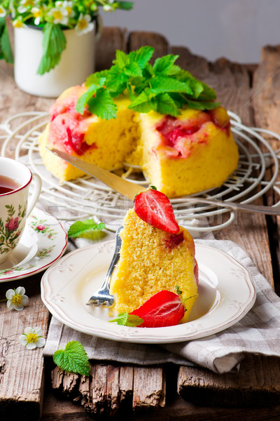 micowave strawberry cake.selective focus Stock photo © zoryanchik