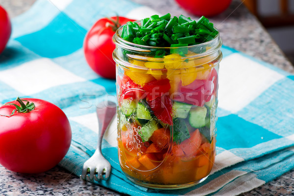 Facile muratore jar rustico verde insalata Foto d'archivio © zoryanchik