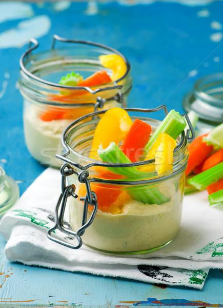 smart snacking pack veggies dip together in a jar   Stock photo © zoryanchik