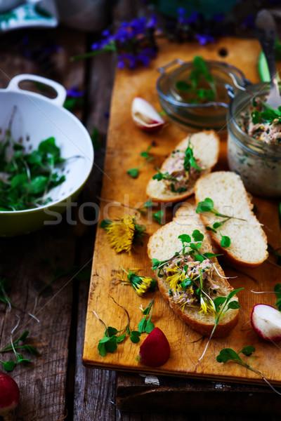 Primavera salada de atum rústico verde frango jantar Foto stock © zoryanchik