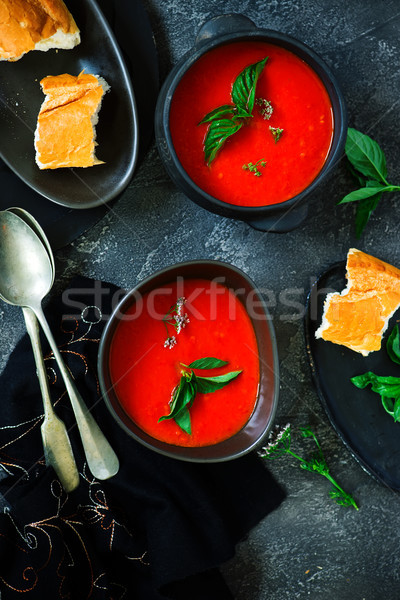 Roasted pepper and tomato soup vegan Stock photo © zoryanchik