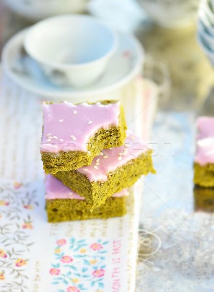 зеленый чай домашний Кубок чай торт Сток-фото © zoryanchik