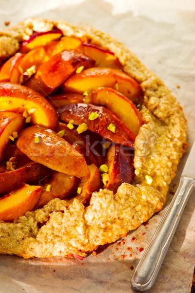 Torta teljes kiőrlésű liszt egészséges étel szelektív fókusz fa Stock fotó © zoryanchik