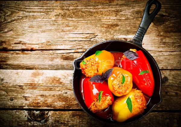 Sweet перец фаршированный землю мяса риса Сток-фото © zoryanchik