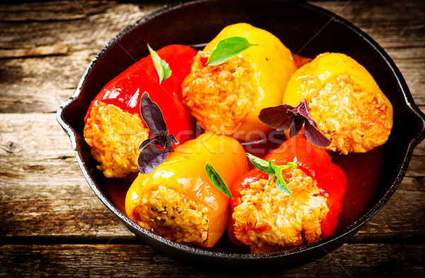 the sweet pepper stuffed with ground meat and rice Stock photo © zoryanchik