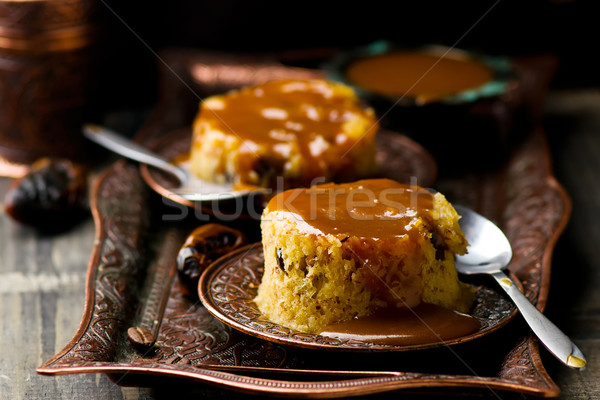date pudding with caramel Stock photo © zoryanchik