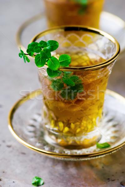 Thee mint traditioneel turks glas beker Stockfoto © zoryanchik