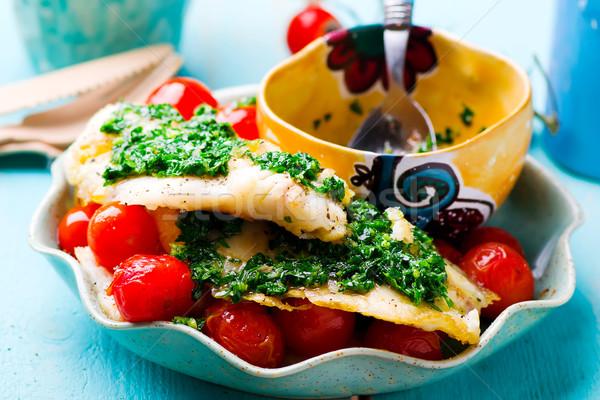 Faul Filet Tomaten Essen Fisch grünen Stock foto © zoryanchik