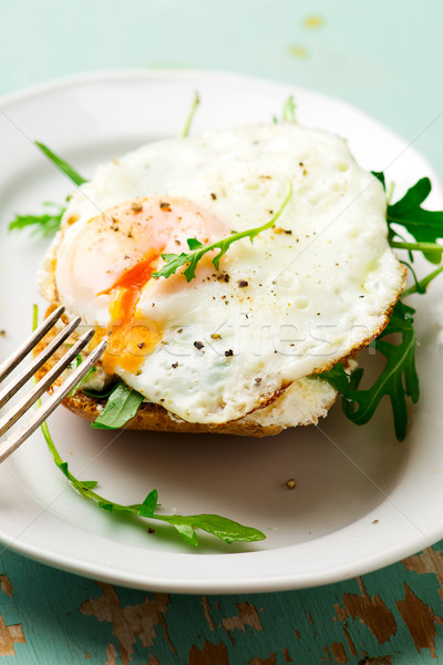 Open Face Breakfast Sandwich With Ricotta Spread Stock photo © zoryanchik