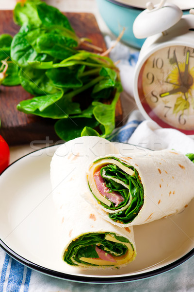Ham and Cheese  and spinach Wrap Stock photo © zoryanchik