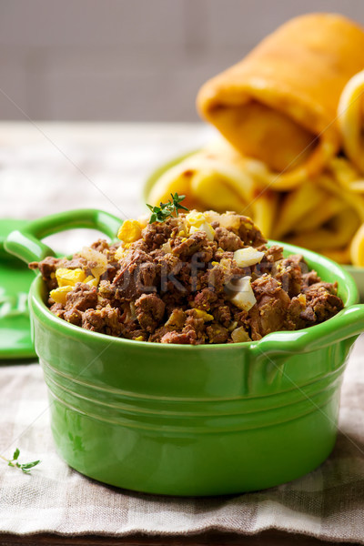 Stock photo: Liver stuffing in ceramic dish