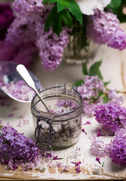Liliowy cukru szkła vintage żywności tle Zdjęcia stock © zoryanchik