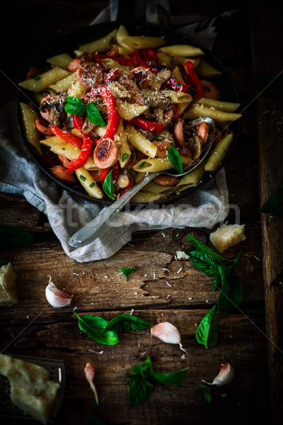 Smoked Sausage Penne Pasta in the skillet Stock photo © zoryanchik