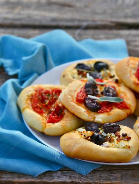 Foto stock: Mini · cozinha · italiana · foco · pizza · restaurante