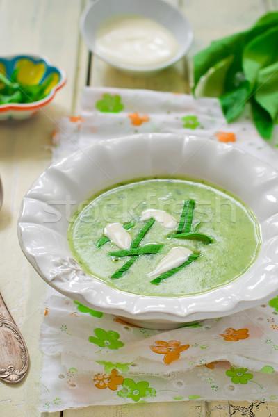 potatoes puree soup  with a ramson Stock photo © zoryanchik