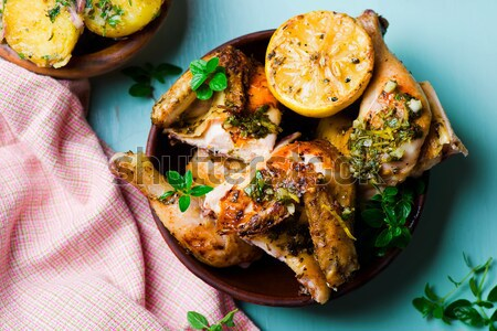 Poulet grill citron origan haut vue Photo stock © zoryanchik