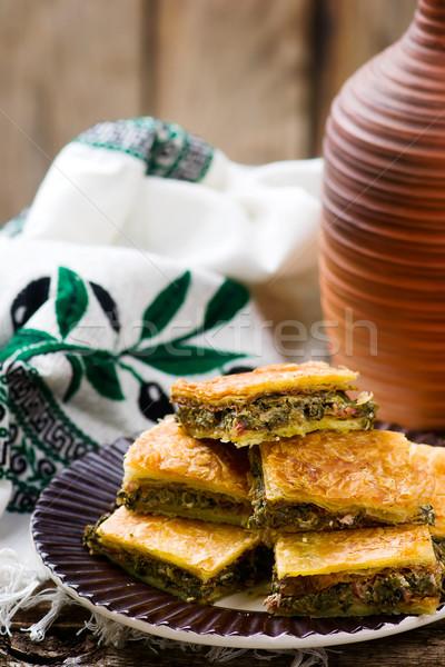 Görög falatozó pite feta stílus rusztikus Stock fotó © zoryanchik