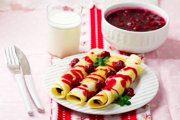 Foto stock: Cereza · salsa · estilo · alimentos · placa