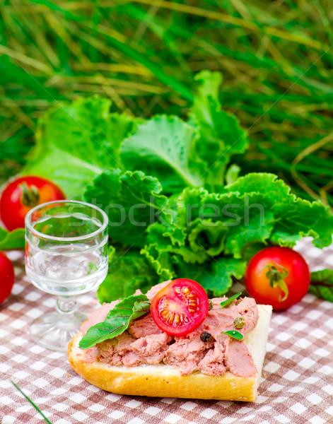Wątroba drewniany stół stylu selektywne focus żywności tle Zdjęcia stock © zoryanchik