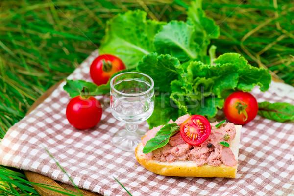 肝臓 木製のテーブル スタイル 選択フォーカス 食品 背景 ストックフォト © zoryanchik