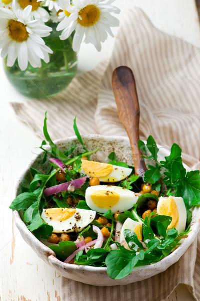 Crispy Chickpea and Arugula Salad. Stock photo © zoryanchik