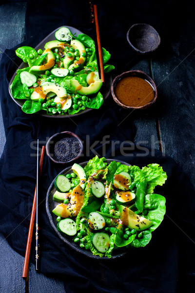 Green salad with miso dressing Stock photo © zoryanchik