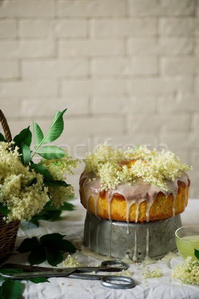 Pomarańczowy ciasto tle cytryny słodkie angielski Zdjęcia stock © zoryanchik