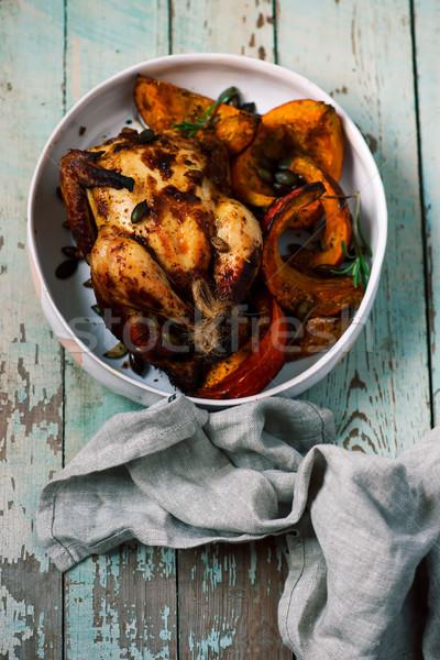 Geroosterde kip pompoen voedsel kip diner kok Stockfoto © zoryanchik