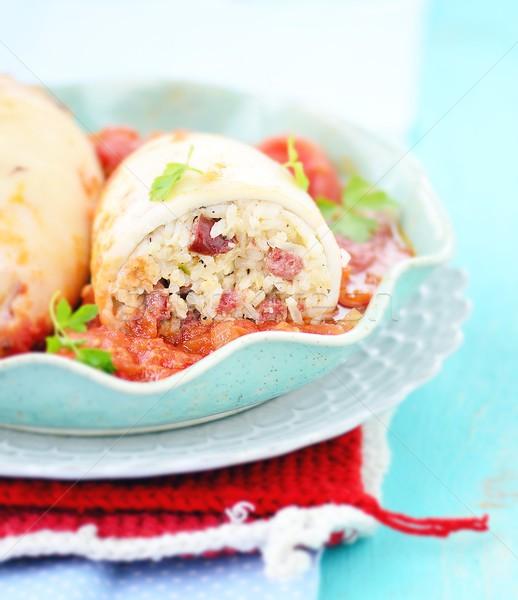 начинка кальмар риса помидоров соус продовольствие Сток-фото © zoryanchik