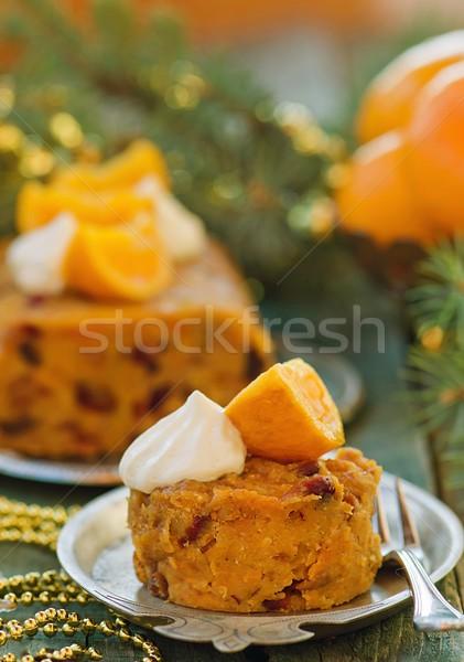 Сток-фото: фрукты · Рождества · пудинг · взбитые · сливки · деревянный · стол