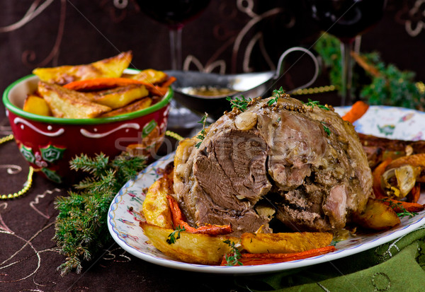 Carne di maiale tavola Natale Foto d'archivio © zoryanchik