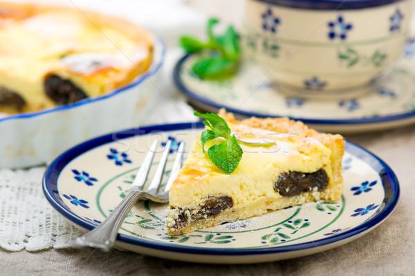 コテージチーズ ケーキ 選択フォーカス フルーツ 背景 夏 ストックフォト © zoryanchik