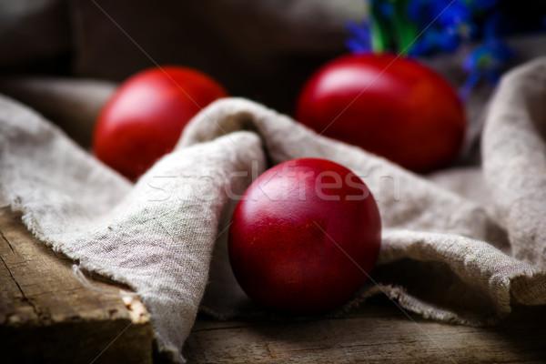 Pasen gekleurde eieren lentebloemen rustiek stijl selectieve aandacht Stockfoto © zoryanchik