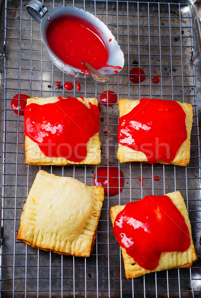 homemade  strawberry glaze pies Stock photo © zoryanchik