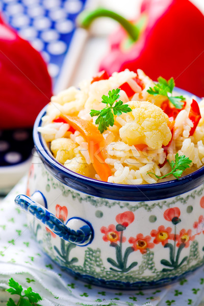 rice stewed with vegetables Stock photo © zoryanchik