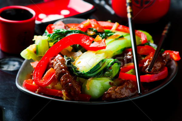Beef, Pepper, and Bok-Choy Stir-Fry. Stock photo © zoryanchik