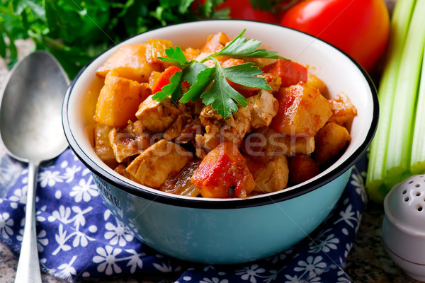 Vegan Irish Stew with Vegetables and tofu Stock photo © zoryanchik