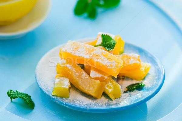 Narancs zselé szelektív fókusz étel narancs citromsárga Stock fotó © zoryanchik