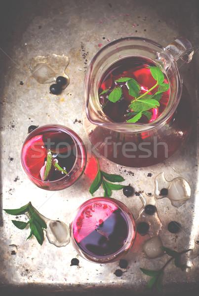 Bebida fria de limão estilo vintage seletivo Foto stock © zoryanchik